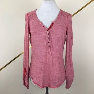 Lucky Brand Henley Striped Long Sleeve Tee